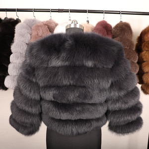 Natural Real Fox Fur Coat Women Winter 50CM natural fur Vest Jacket Fashion Outwear Real Fox Fur Vest Coat 201209