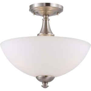 "SUPERHUNTER 13"" 13""W x 11""H Brushed Nickel Finish Semi-Flush Mount Fixture Decorative lighting household ceiling ceiling lamp"