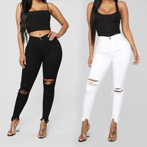 Black and white ripped jeans For women Slim denim jeans Casual Skinny pencil pants Fashion Womens clothing plus size S 3XL