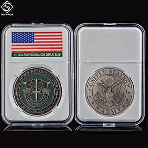 Free Shipping US Army Special Forces De Oppressoliber Military Green Beret USA 1oz Challenge Coin W Pccb Box