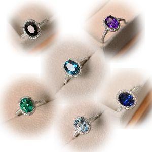 Drop Shipping Luxo Jóias 925 Sterling Prata Oval Corte multi cor Topaz CZ Diamond Party Mulheres Casamento Anel de banda para os amantes 183 O2