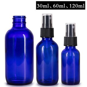 Hot Sale 30ml 60ml 120ml Round Blue Boston Perfume Spray Bottle Refillable Empty Cosmetic Containers With Atomizer For Traveler