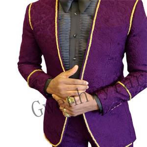 Bridalaffair 2021 Purple Men's Suit 2 Pieces Groom Tuxedos Wedding Groomsman Set Custom Made Blazer With Pants