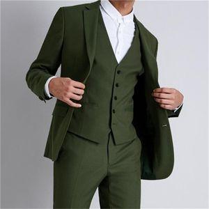 New Style Groomsmen Notch Lapel Groom Tuxedos Olive Green Men Suits Wedding Prom Dinner Best Man Blazer ( Jacket+Pants+Tie+Vest ) K809
