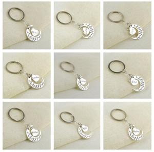 Je t'aime à la lune et au dos lettres Metal Keychain Couple Couple Couple Key Bague porte-clés Charms Sac Pendentif Saint Valentin Cadeau de Noël E112702