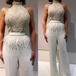 2021 Custom Made Beaded High Collar Pant Suit Evening Dresses with Feathers Sash Sleeveless Jumpsuit Party Prom Gowns