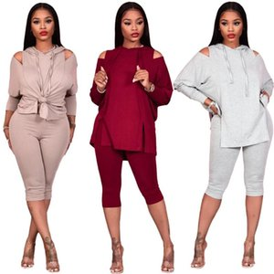 Casual Wome Off Shoulder Hollow Out Two Piece Set Shirt Crop Top + Long Pants Sportsuit Winter Clothes For Women Outfit