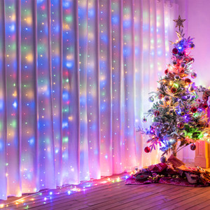 3* 3M 300LED 6*3M 600LED Outdoor Home Christmas Decorative xmas String Fairy Curtain Strip Garlands Party Lights For Wedding Decorations