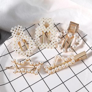 Fashion Simple Elegant Alloy Pearl Crystal Hairpin Exaggerated Charm Geometry Letter Crown Heart Bobby Pin Women Jewelry