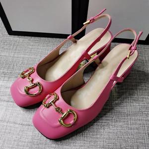 Oro sexy moda tacones altos nuevos sandalias de verano hebilla de metal tacón de tacón grueso elegante zapatos de mujer baotou zapatos de boda nupciales para mujer