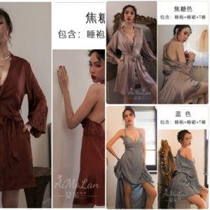 Nlum chemises de nuit Pajamas Bathrobe Kid Femme Soie Ice Imprimer Sexy Lingerie Motif Modèle Amoureux Sexy Femme Robe Satin Satiné Bain Soie FlotRobe Wome XXTR