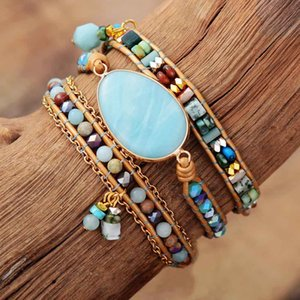 Multilayered Leather Wrap Bracelet W  Natural Stone ite Beaded Strands Bracelet Boho Beads Jewelry Wholesale Dropship F1201