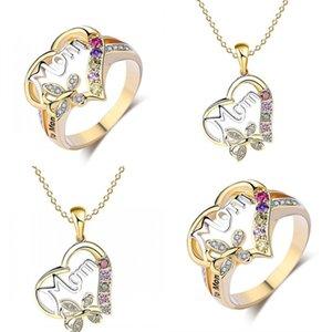 Кольцо ожерелье набор двух частей набор Mom Love Heart Pattern Inlay Crystal Plated Gold Chain Мода Матери Подарок 6LR J2