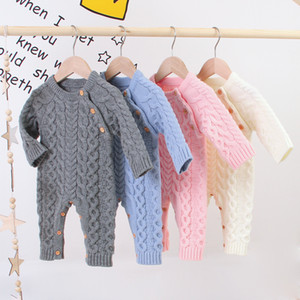 FOCUSNORM Winter Autumn Baby Girls Boys Rompers Long Sleeve Solid Knit Sweater Warm Jumpsuits 4 Colors Z1118