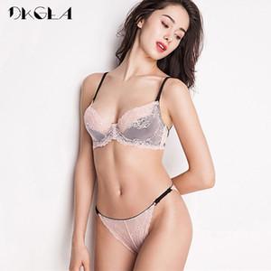 New France Pink Bra Panties Sets Embroidery Brassiere Women Lingerie Set White Ultrathin Lace Underwear Sexy Bra Set TransparentX1122