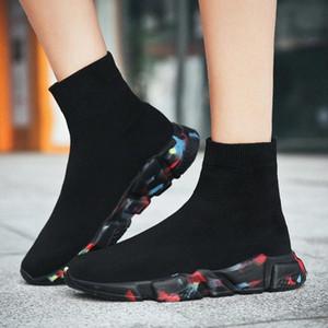 Winter Warm Slip On Sock Sneakers Women Unisex 2020 Fashion Light High Top Womans Sock Shoes Camouflage Fly Weave Ladies Shoes #En5H