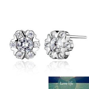Women Luxury Jewelry Snow Flower Real Cubic Zircon-Studded Stud Earrings for Women Fashion Charming Earring Jewelry Accessories