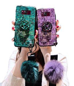 2020 Marble Glitter Epoxy Bracket Fur Ball Lanyard Case For Samsung S10 Plus S10E M10 J5 J7 2015 2016 2017 J3 J2 Pro J4 J6 J8 2018