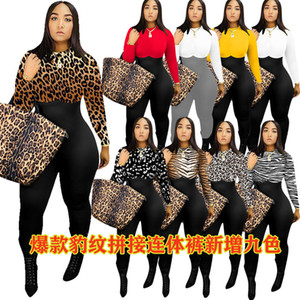 Women Fashion Clothing Autumn And Winter Irregular Print Multicolor Pant Long Sleeve Jumpsuit The New Listing