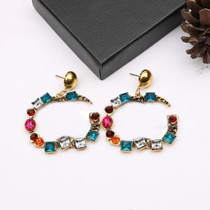 Модный дизайнер красочные серьги творческие буквы серьги женщин бриллиант шарм шпильки преувеличенные серьги ювелирные аксессуары оптом