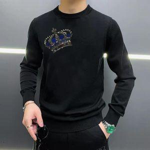 Cashmere%100 Winter Super Warm Oversized Men's Sweater Crown Rhinestone Fall Loose Design Head Pullover