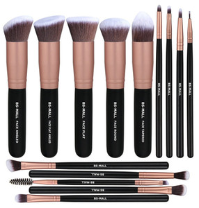 BS-MALL (TM) Pince de maquillage de haute qualité Ensemble de 14 brosses synthétiques, brosse de fondation, brosse de correction, brosse à ombre à paupières, argent et noir