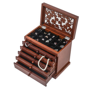 Large Jewelry Box Storage Leather Earrings Ring Necklace Drawer Organizer Holder