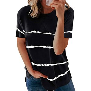 INS Shiying Short-Sleeved T-shirt Womens European and American Summer New Striped Pattern Loose round Neck Womens Top Clothes