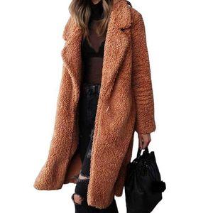 JH Autumn Winter Faux Fur Coat Women Warm Teddy Bear Coat Ladies Fur Jacket Female Teddy Outwear Plush Overcoat Long