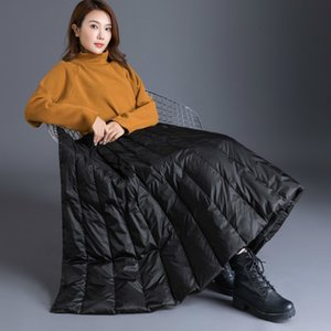 GareMay winter Women's duck down skirt High Waist Casual Long skirt for women thick warm Female Padded Black Skirts plus size A1121