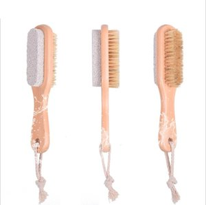 2 in 1 Natural Body or Foot Exfoliating SPA Brush Double Side with Nature Pumice Stone and Soft Bristle Brush