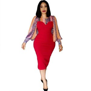 Fashion Serpentine Print Patchwork African Pencil Dresses For Women Spring Autumn New Elegant Office Lady Dress African Vestidos