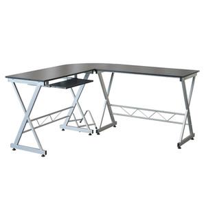 Waco Moderno em forma de L em forma de canto de canto PC LOtoP Estudo mesa de trabalho Home escritório mesa mesa de madeira de madeira, mesa de canto de 3 peças, preto