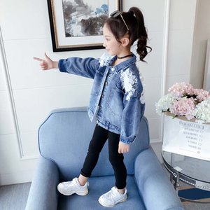 Girls Jacket Lace Flower Denim Jacket For Girls Single-breasted Kids Outerwear Spring Fashion Girl Clothes For 6 8 10 12 14 201118