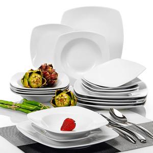 Dîner de vaisselle en porcelaine en céramique en céramique de Malacasa Julia 18 pièces avec 6 * Dîner Soupe dessert Dessert Set Service pour 6 personnes Z1123