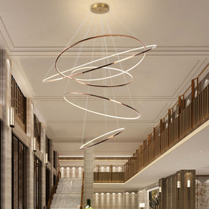 Modern gold led chandelier for staircase large ring stainless steel light fixture brief villa hall lobby decoration lighting