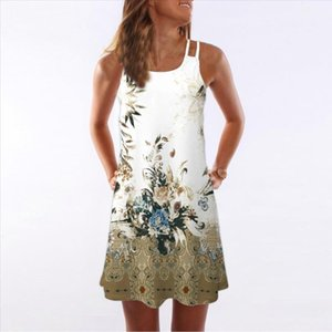 Women White Summer Dress Vintage Sleeveless 3D Floral Print Boho Tank Short Mini Dress Fashion beach dresses vestidos verano NEW