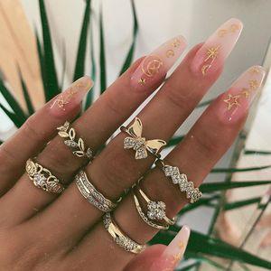 7 unids Conjunto de hojas de esmalte ajustable Heart Butterfly Rhinestone Midi Finger Punk Mini anillo para mujeres