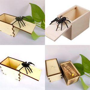 لعب نكتة صناديق خشبية صغيرة سيليكون تعطيك مفاجأة المزحة مخفية العنكبوت مربع لعبة هدية فخمة الساخن بيع 3 5BY M2