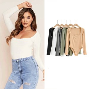 SLEEVE Big U-neck LONG Style Sexy BODYSUIT women's autumn new fashion splicing solid color top