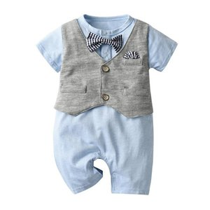Humor Bear Summer Boys Clothing Sets 2020 Summer New Gentleman Jumpsuit + Vest Suit Boy Fashion Suit Toddler Baby Kids Clothes Z1214
