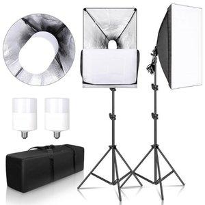 التصوير الفوتوغرافي Softbox for Photo Studio Light Box Professional 50x70cm E27 Softbox Lighting Kit مع 2 × 30W LED لمبة 2 × ترايبود 1