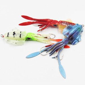 15 cm 60g Glow Fishing Soft Squid Lure Polopus Sea Pesca Bianco Bait Squid Jigs esche da pesca escrementi in silicone esca