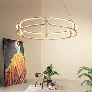 Moderna Led Chandelier Iluminação para sala de estar Quarto Home Cord Luzes Luzes Luminárias Rodada G4 Gold Cor Chandelier Lamparas de Techo-L