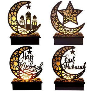 Eid Mubarak Ramadan decoração de madeira oco lua estrela bênção palavra decoração para feliz Eid Mubarak home quarto de mesa decoração hha3433
