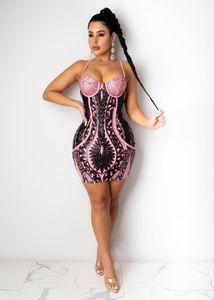 Felyn 2021 Nova Chegada Lantejoulas Vestido Sparkly Spaghetti Strap Sexy Club Mini Vestido Vestidos