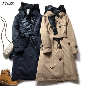 FTLZZ Winter Women Double Breasted Hooded Long Down Parka Thick Warm 90% White Duck Down Coat with Belt Windbreaker Snow Outwear Z1202