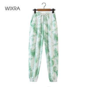 Wixra Womens Calças Primavera Outono Elastic Waist Streetwear Casual Solto Drawstring Tie-tintura Calças Sportswear para Fêmea LJ201029