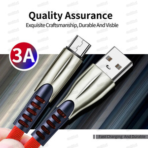 3ft 6ft 9ft Zinc Alloy Type-c cable 3A Fast Charging Charger Micro USB Cable Supporting data transmission for samsung note 20 s20 cell phone