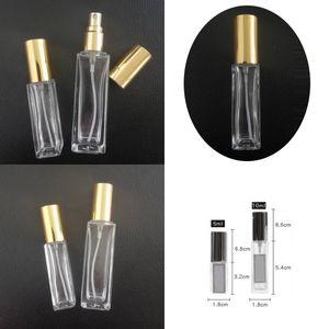 شفافة فارغة زجاجة زجاجة مطلي الذهب والفضة الأسود غطاء زجاجات رش مضخة ضغط العطور حاويات مستحضرات التجميل 3 5 10 20ML 1 3FD G2